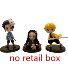 Tueur de démons Nezuko Zenitsu Tanjirou Giyuu Inosuke Q Ver. Figurines jouets Kimetsu no Yaiba Anime PVC Figurine jouet 3 pièces/ensemble