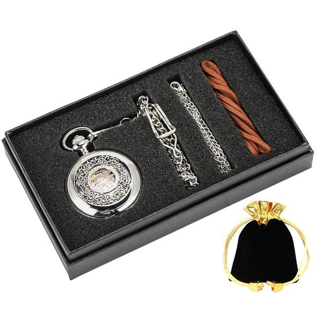 Fashion Hollow Bloem Zilveren Hand Kronkelende Mechanische Zakhorloge Luxe Zilveren Metalen Web Case Hand Winding Horloge Sets + Doos tas