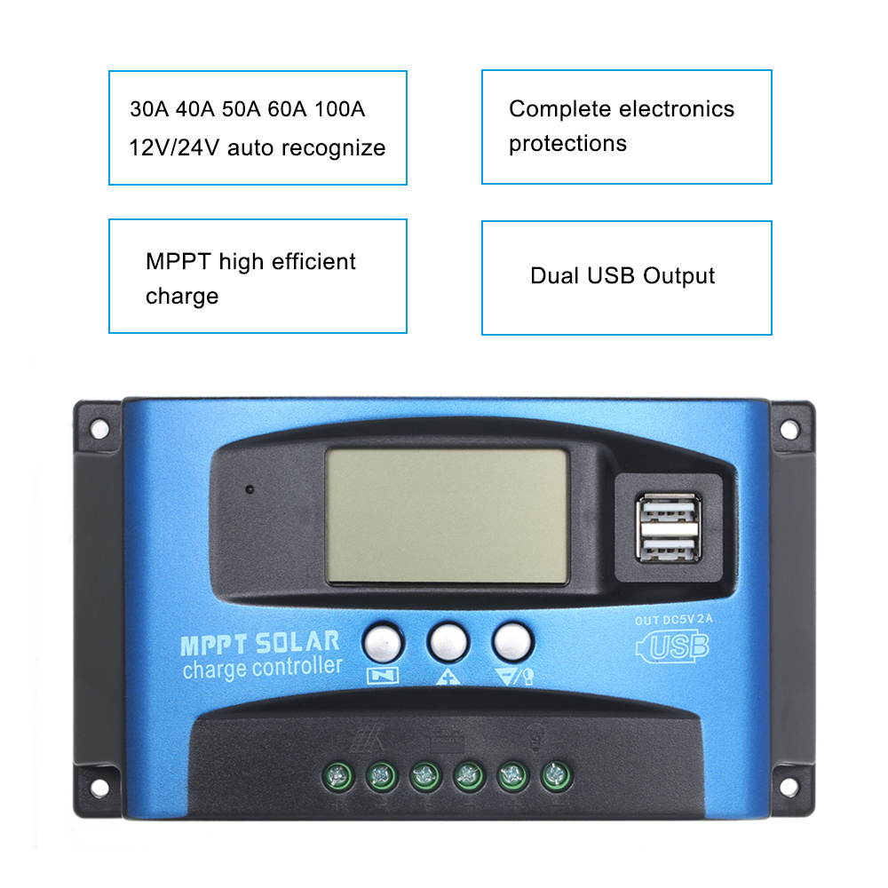 Image 5 - MPPT Solar Charge Controller Dual USB LCD Auto Solar Cell Panel Charger Regulator MPPT 60A 30A 40A 50A 100A Solar Regulador-in Solar Controllers from Home Improvement