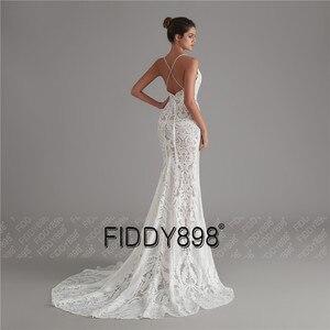 Image 4 - בציר תחרה חתונה שמלת 2020 נצנצים כלה שמלות vestido דה noiva בת ים שמלות כלה עם נתיק רכבת robe דה mariee