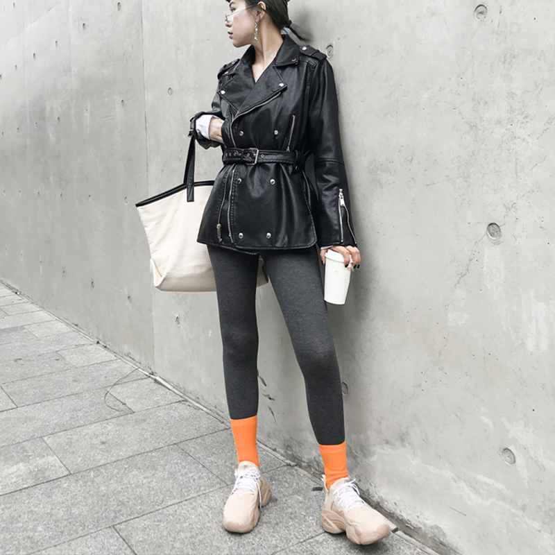 [EAM] Loose Fit Black Pu Leather Bandage Split ZipperJacket New Lapel Long Sleeve Women Coat Fashion Tide Spring 2020 1S708 4