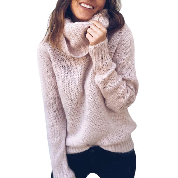 セーターの女性 2019 新しい秋と冬のソリッドカラー長袖高襟プルオーバー冬服女性 Vestidos MMY76001