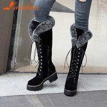 Karinluna dropship 2019 büyük boy 43 kış sıcak kürk ayakkabı kadın açık kar botları kadın ayakkabı bağcığı diz yüksek çizmeler kadın ayakkabı