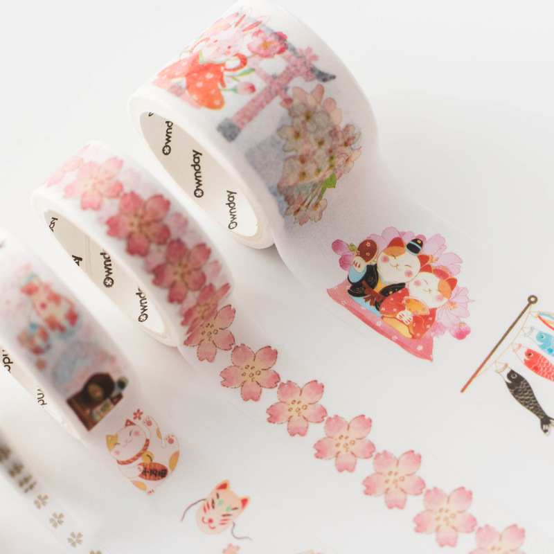 5 pcs/pack Fairy Crane Cat Cartoon Decorative Washi Tape Set DIY Scrapbooking Masking Tape School Office Supply