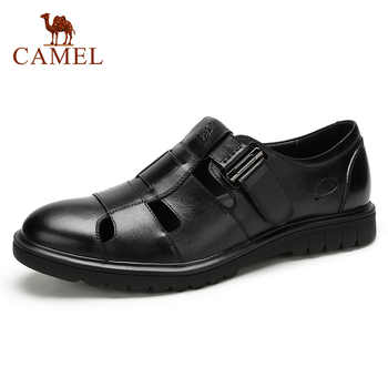 CAMEL Summer Retro Men Business Casual Sandals Genuine Leather Breathable Comfortable Fashion Men's Dad Shoes Velcro Men Shoes - DISCOUNT ITEM  20% OFF All Category