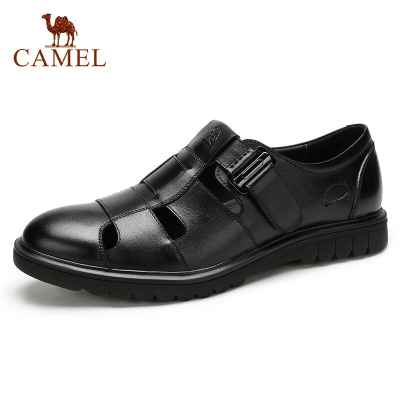 CAMEL été rétro hommes affaires sandales décontractées en cuir véritable respirant confortable mode hommes papa chaussures Velcro hommes chaussures-in Sandales homme from Chaussures    1