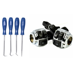 4Pc Hook and Pick Set Seal Remover Removal Tool & 1 Pair Motorcycle 1 Inch Handlebar Control Switches Wiring Harness