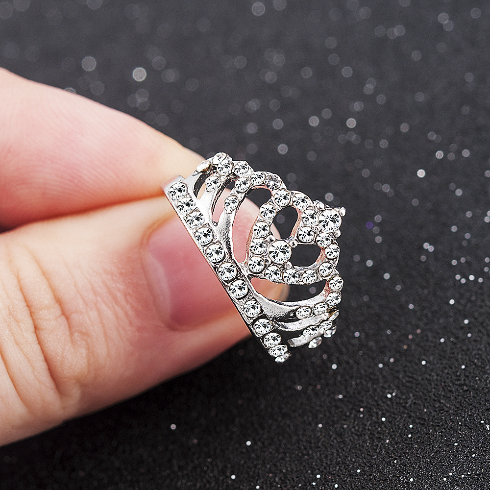 2020 New Fashion Crown Shape Rhinestone Crystal Rings Women Girl Wedding Bridal Party Ring Jewelry engagement ring 1