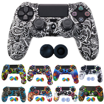silicone cover skin for dualshock 4 ps4 pro slim controller case and thumb grips caps for play station 4 game accessories 1PCS Anti-slip Silicone Cover Protect Skin Case for Sony Play Station Dualshock 4 PS4 Pro Slim Controller+2Thumb grips accessory