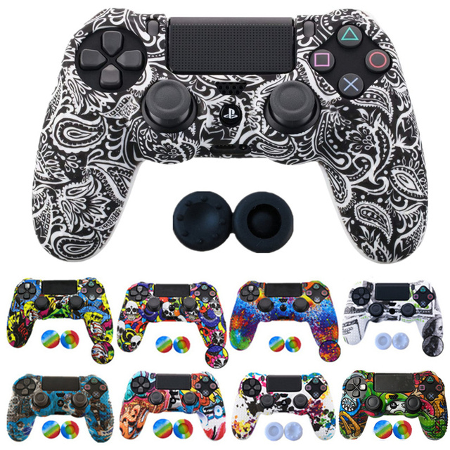 1PCS Anti slip Silicone Cover Protect Skin Case for Sony Play Station Dualshock 4 PS4 Pro Slim Controller+2Thumb grips accessory