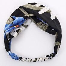 Bandeau élastique à nœud croisé pour filles, imprimé fleur de lys, Style boho, accessoires pour cheveux