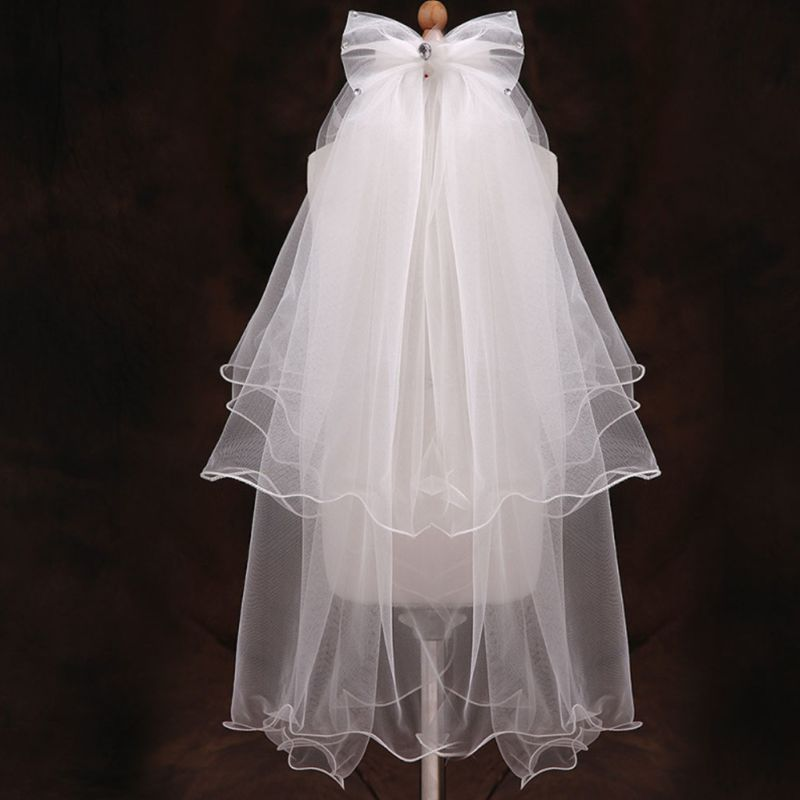 Handmade Double Layer Flower Girls Wedding Veils Cute Rhinestone Bowknot Costume