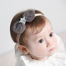 Baby Girl Headwear Toddler Girls Kids Sequins Five-pointed Star Bowknot Elastic Infant Hairband Gift For Kids(China)