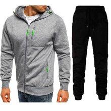 2021 conjunto de agasalho casual com zíper jaquetas masculino casaco quente com capuz e calças 2 peças define jogger terno moletom cardigian