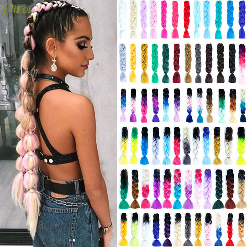 DIFEI 100g/pack Colorful Afro Ombre  Stretched Braiding Hair Extensions  Synthetic Jumbo Crochet Hair Braids For Black Women