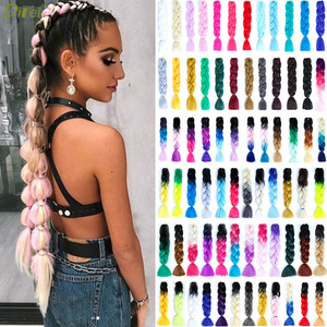 DIFEI 100g/pack colorful Afro Ombre Stretched Braiding Hair Extensions Synthetic Jumbo Crochet Hair Braids for black women(China)