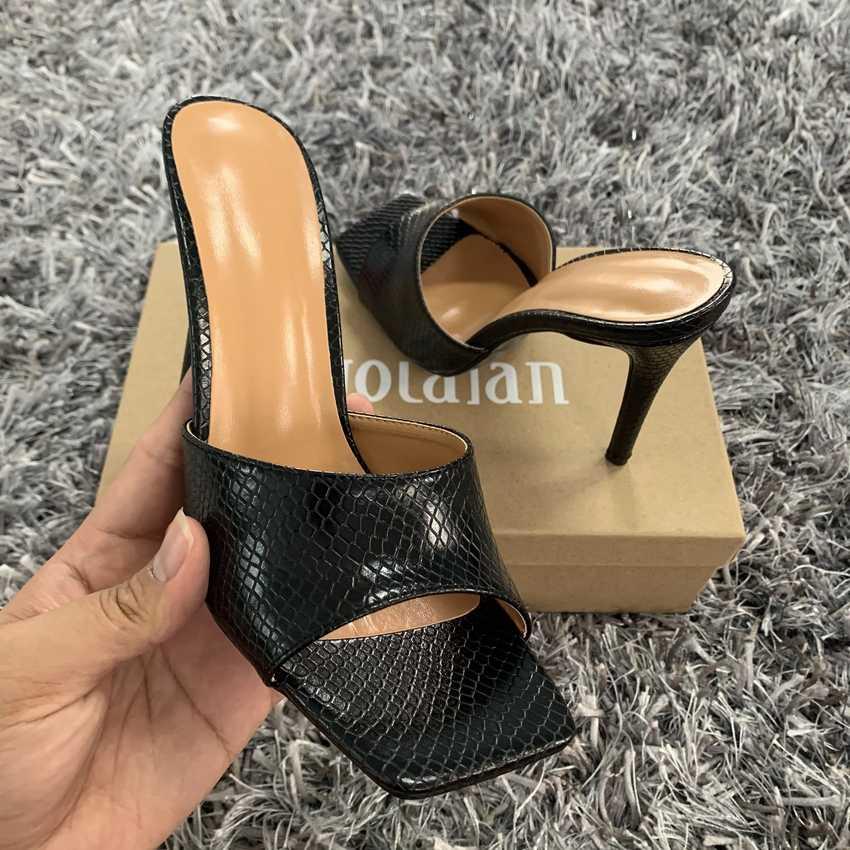 2020 Phụ Nữ Mùa Hè Sandals Loài Rắn In Dép Giày Cao Gót Con La Vuông Mũi Giày Sandal Nữ Sexy Bữa Tiệc Ngoài Trời Giày Người Phụ Nữ