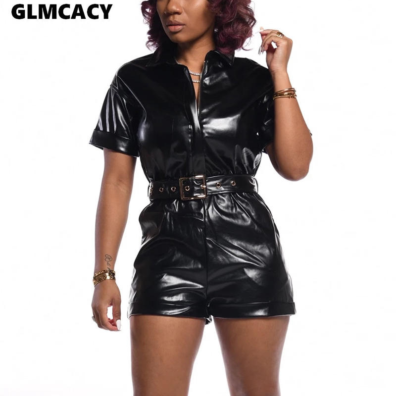 Women Summer Zipper PU Leather Jumpsuit Short Sleeve Black Sexy Playsuit Female Club Party Overalls Short Jumpsuits