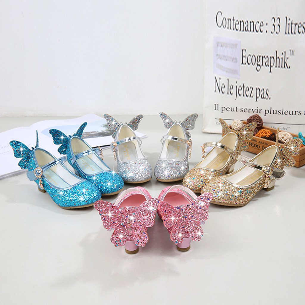Infant Kids Baby Girls Crystal Bling Butterfly Single Princess Shoes Sandals US