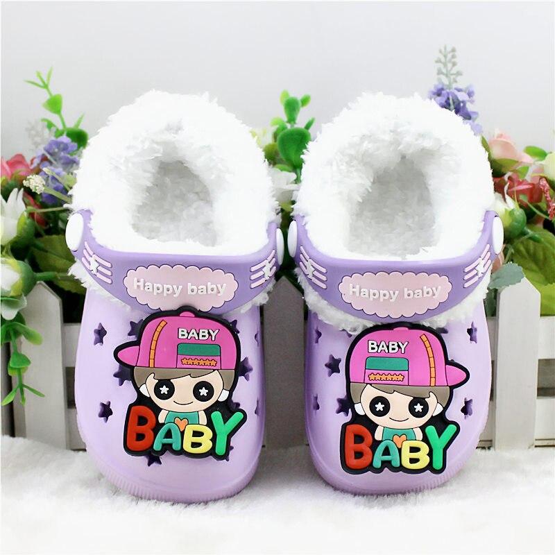 Детские сандалии; детские тапочки; сезон лето-осень; обувь для малышей; Домашние сабо с вырезами; обувь для пляжа и сада; съемная шерстяная нескользящая обувь - Цвет: purple 1