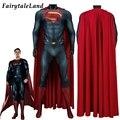 Взрослый костюм супергероя комбинезон Косплэй Кларк Кент наряд на Хэллоуин человек стальной костюм Красной накидкой, спандекс, облегающий ...