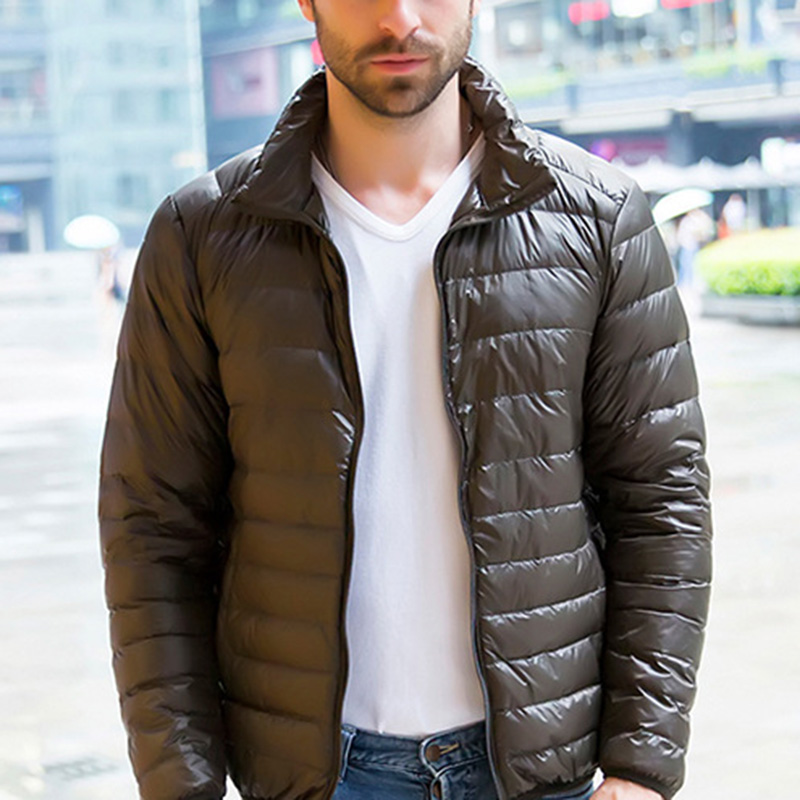 Men Winter Warm Coat Duck Down Overcoat Solid Color Fashion Classic Packable Puffer Outwear Zipper Stand Collar Casual Coats