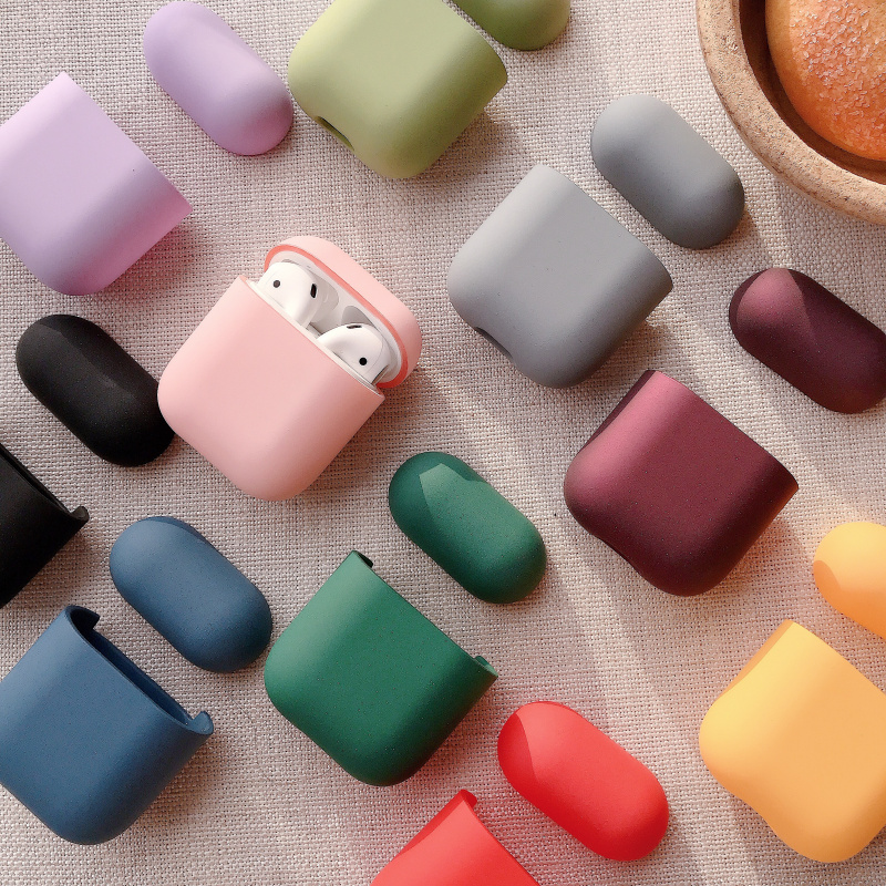 Simple solid color for airpods cover Frosted sensation Earphone PC cover for Apple bluetooth headset case Candy color Plastic shell for airpods 2 case