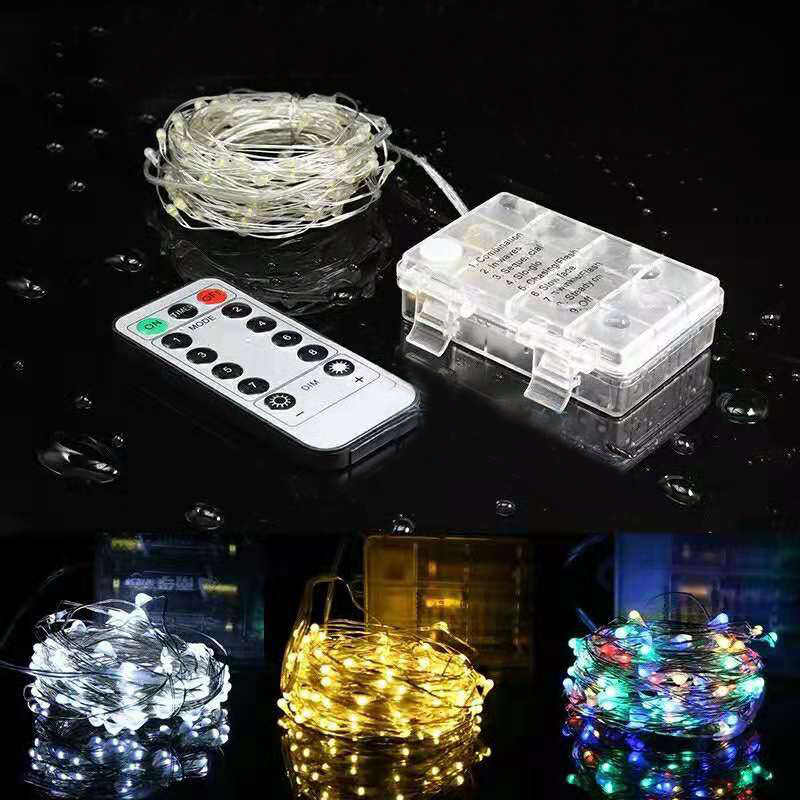 8 Modes Remote Control LED Fairy Lights Battery Operated Waterproof String Lights Outdoor For Wedding Christmas Party Decoration