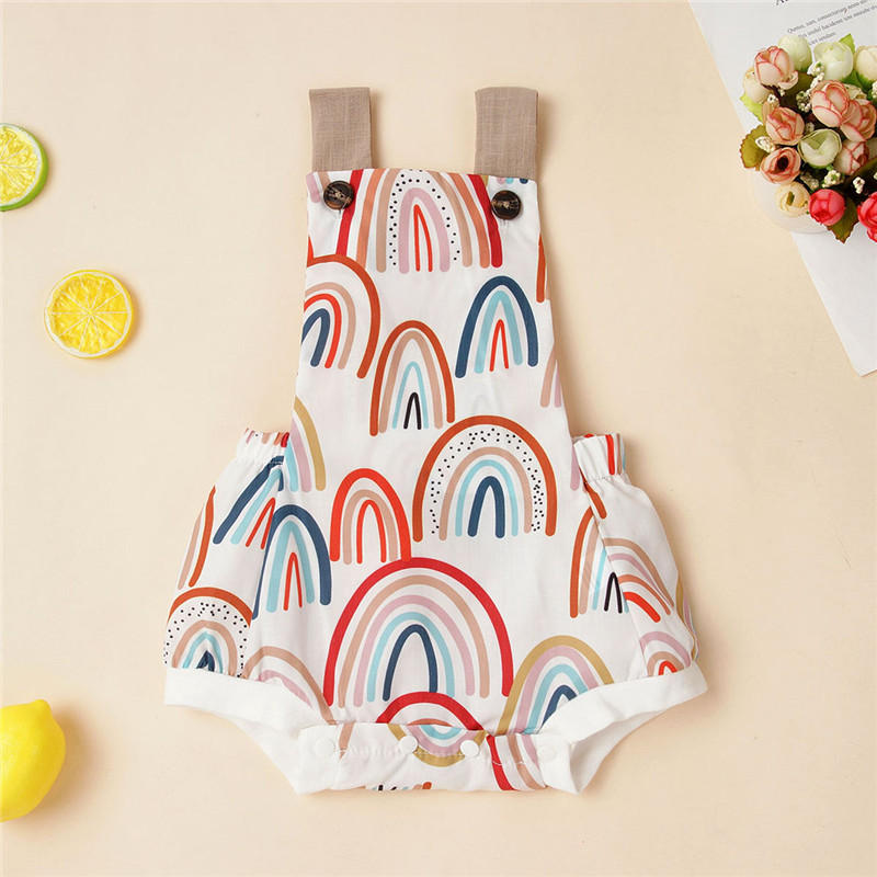 2020 Summer Baby Girl Clothes 0-12M Sleeveless Backless Romper Jumpsuit Rainbow Printed Playsuit Summer Cotton Clothes Outfits
