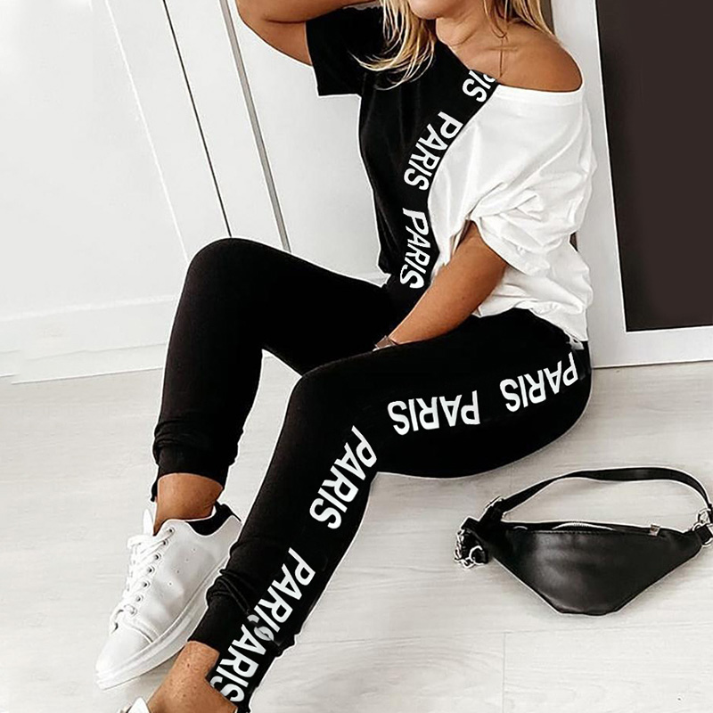Off Shoulder Tracksuit Sets Women's 2 Piece Set Letter Print Short Sleeve Female Top Suit 2020 Summer Sport Pant Suits Ladies
