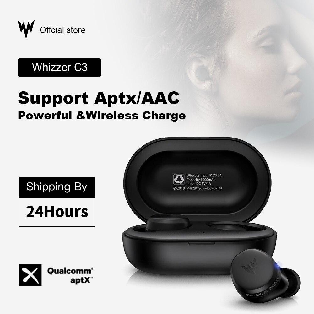 Écouteurs sans fil Whizzer APTX Bluetooth C3 TWS avec puce Qualcomm, contrôle du Volume, écouteurs originaux 36H Playtime