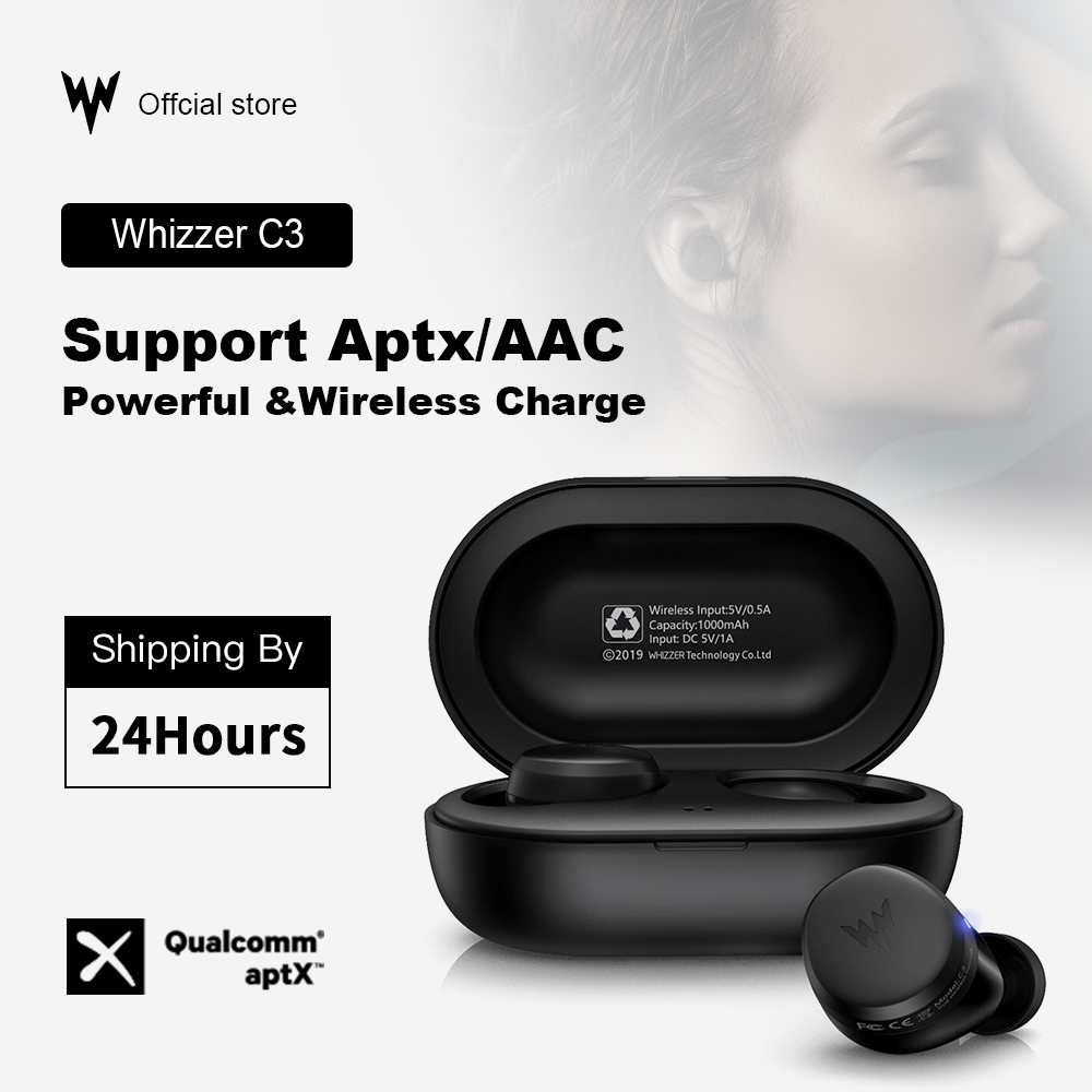 Whizzer APTX Bluetooth Earphone C3 TWS Wireless Earbuds With Qualcomm Chip, Volume Control, 36H Playtime Original Earbuds