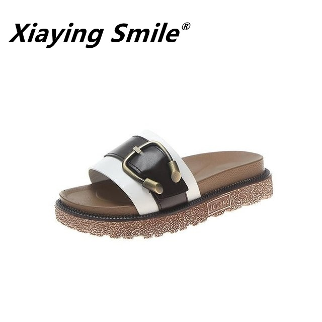 Xiaying Smile Sandals And Slippers Women Wear Summer 2020 New Thick Bottom Fashion Wild Word Student Flat Bottom Beach Slippers