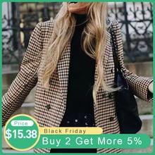Клетчатый блейзер, куртка для женщин, модные кнопки в стиле ретро, клетчатый пиджак с подплечниками, офисный пиджак, блейзер для девушек, повседневные пальто