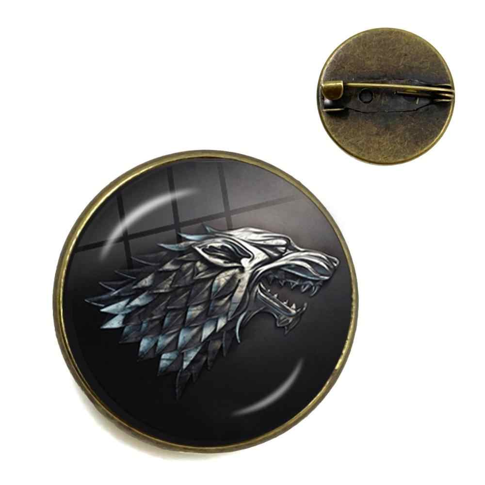 Hot New Game of Thrones Brooch Cosplay Costumes Badge Stark Direwolf 9 Family Logo Bronze Gem Collar Pins Small Gift For Friends