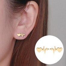 Alloy Women Fashion Stud Earrings Heart Electrocardiogram Ear Beat Earring Doctor Nurse Jewelry Gifts Wholesale WD374