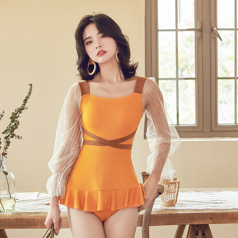 2020 New Style Japanese Korean New Style Hot Springs Bathing Suit Women's Belly Covering Slimming Sexy Triangle One-piece Bikini