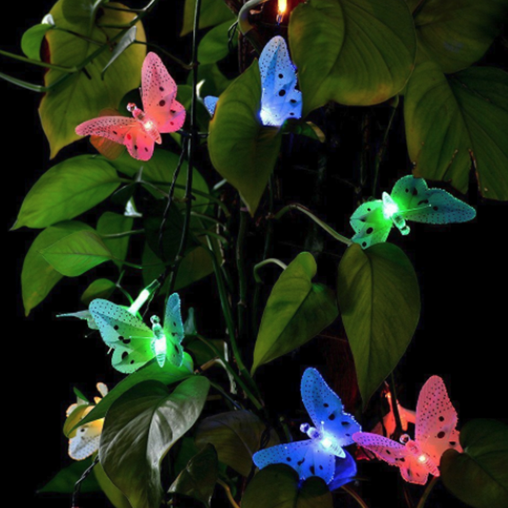 12pcs Outdoor Waterproof Fairy Lawn Lamp Christmas Decor LED Solar Powered Garden Light LED Butterfly Fiber Optic Fairy Lamp