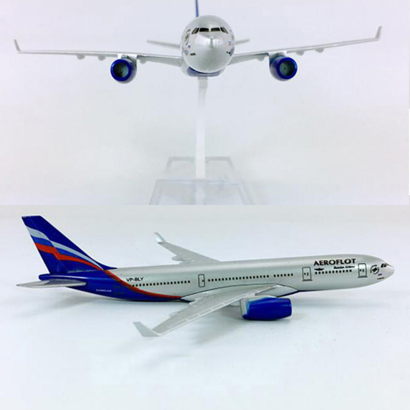 16CM Diecast Aircraft Model 1:400 Air Airbus A330-200 RUSSIA Airplane W Base Alloy Aircraft Plane Collectible Display Toy Gift