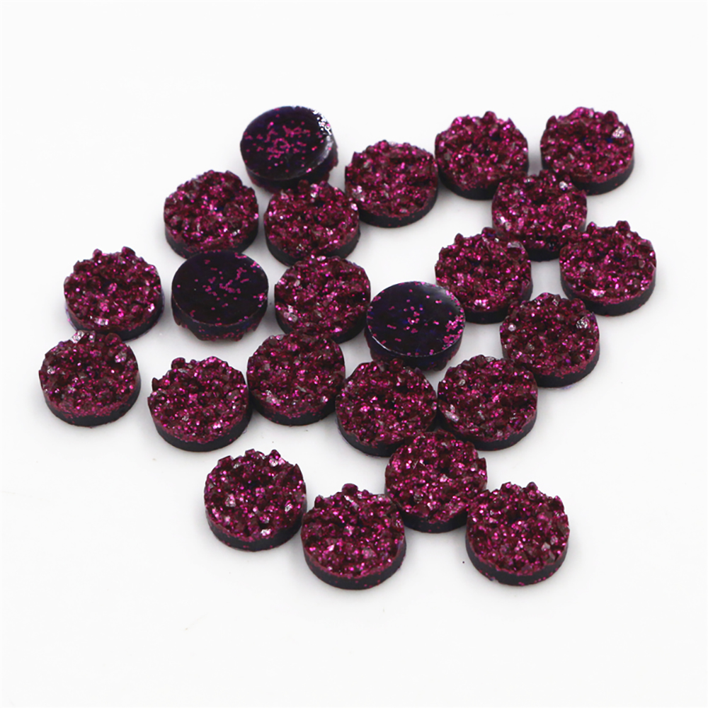 New Fashion 40pcs 12mm Dark Purple Red Natural Ore Style Flat Back Resin Cabochons For Bracelet Earrings Accessories-V4-26