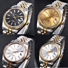 PARNIS Brand 40mm Automatic Men Watch Sapphire Glass Gold Rose Gold Plated Watch Band MINGZHU Movement cheap 3Bar Bracelet Clasp Fashion Casual Automatic Self-Wind 22cm Stainless Steel Auto Date ROUND 20mm Mechanical Wristwatches