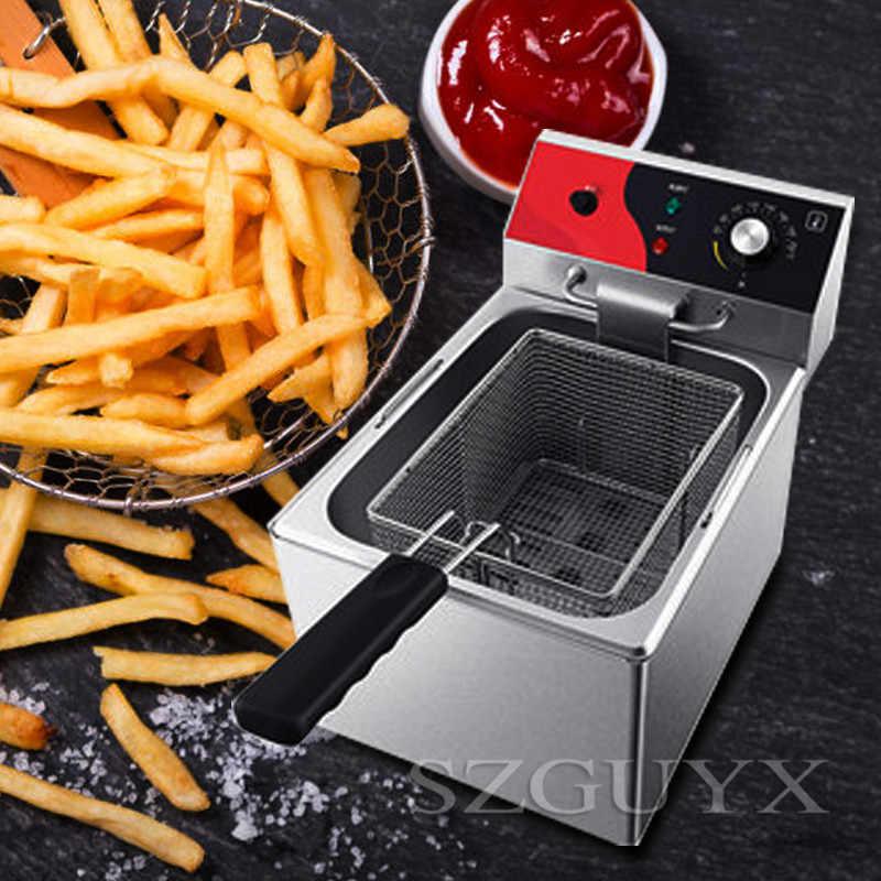 Freidora grande de acero inoxidable de un solo cilindro 12L freidora eléctrica de un solo cilindro fritos de patatas fritas fritos de pollo frito