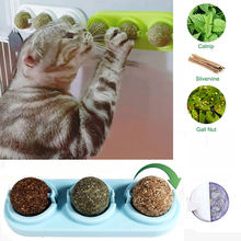 3 шт/лот самоклеящиеся вращающиеся шарики кошачьей мяты серебряная