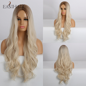 EASIHAIR Long Wavy Blonde Ombre Wigs High Density Synthetic Wigs for Women Cosplay Wigs Brown Heat Resistant Natural Hair Wig(China)