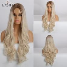 Easihairロング波状ブロンド女性のためのオンブルかつら高密度合成かつらコスプレかつらブラウン耐熱自然な髪のかつら