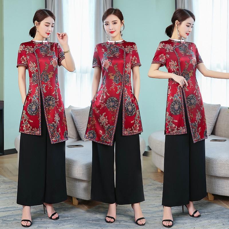 Wedding Middle-aged Women Dress 2019 Summer New Style Vintage Improved Cheongsam Heavyweight Silk Two-Piece Set Hi Grandma Forma