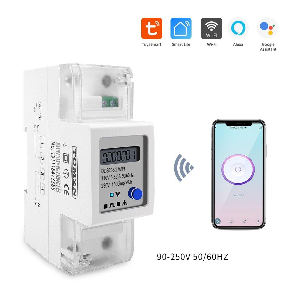 Moniteur intelligent de consommation d'énergie de minuterie de WIFI de Rail Din monophasé de Tuya de vie intelligente moniteur kWh mètre wattmètre 220V 50/60Hz