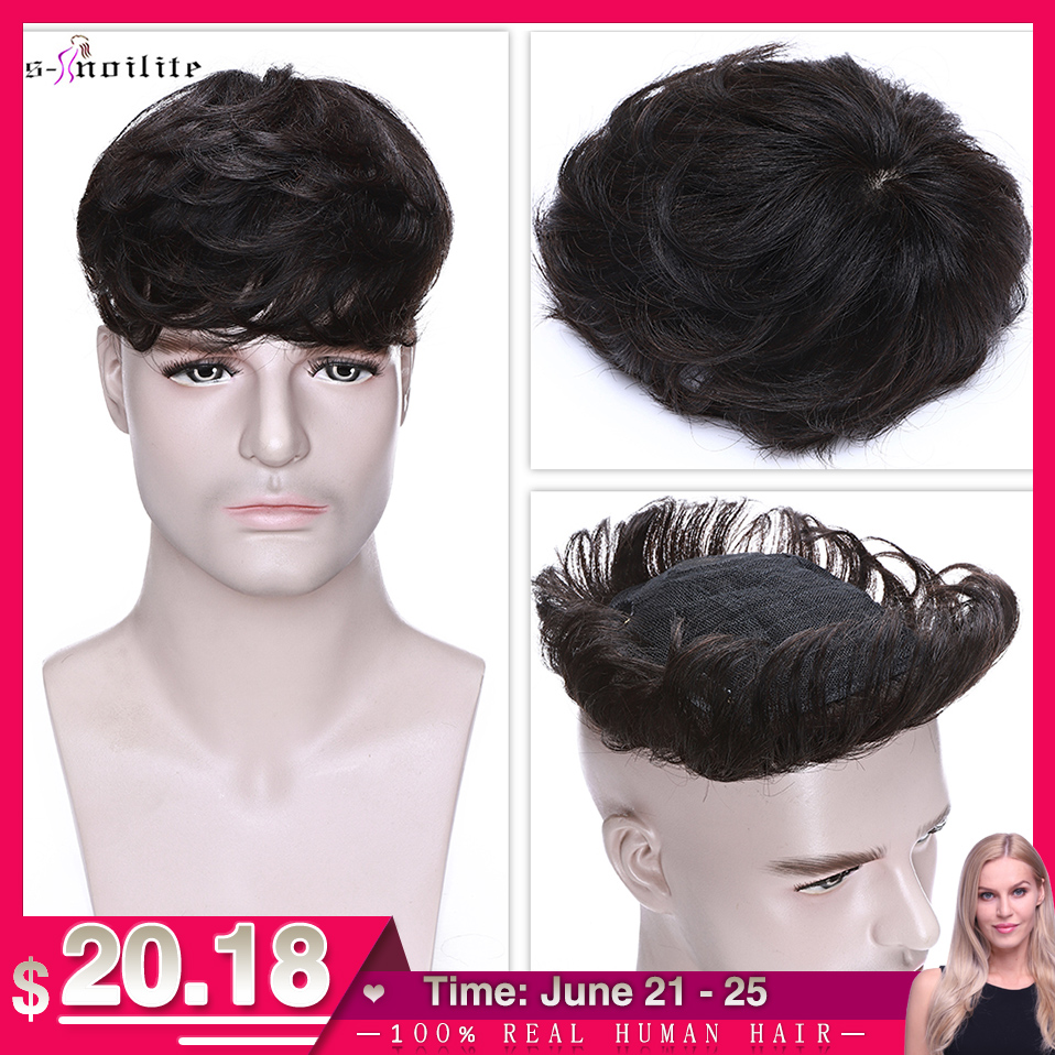 S-noilite 4Inch Men Toupee Human Hair Replacement System Hair Clip Hairpiece 16x19cm 35g Clip In Hair Extensions Male Hair Wig