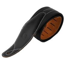 CB Logo Correa de cuero acolchada para guitarra acústica eléctrica, cinturón ajustable de bajo, color negro