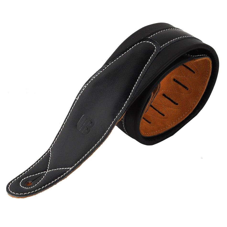 CB Logo cuir rembourré noir sangle de guitare pour guitare acoustique électrique basse ceinture réglable